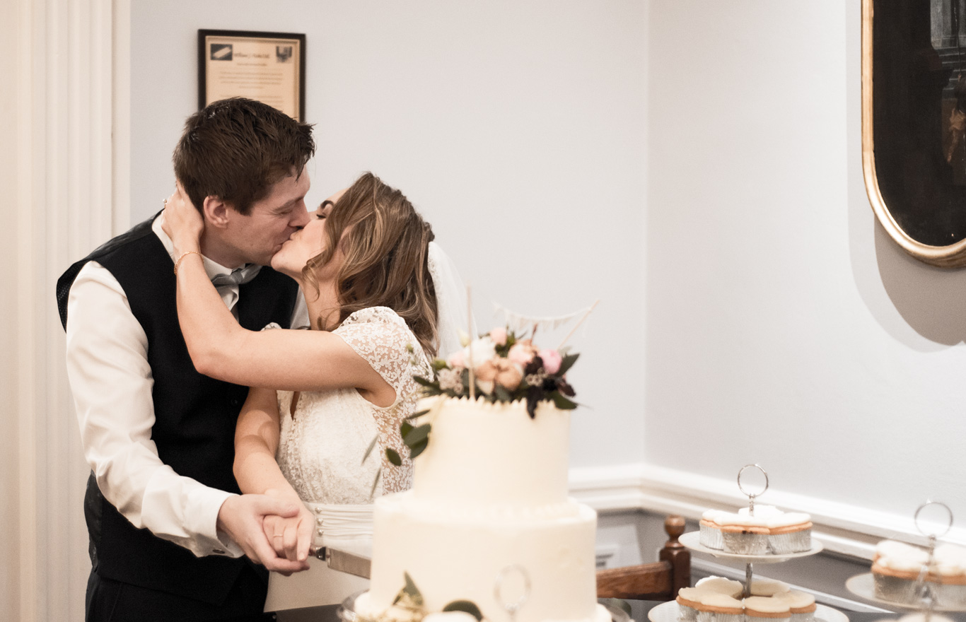 Wedding Cake Cut and Kiss